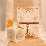 Rustic Semicircle Floral Laser Cut Wedding Favor Boxes x 50 image