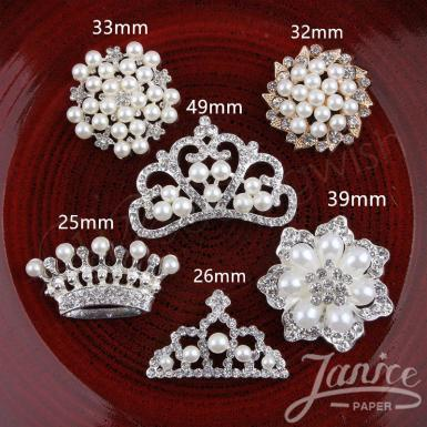 Wedding 1.5 Inch Elegant Rhinestones, Crystal Pearl Embellishments - Wedding Wish Image 1