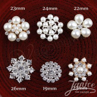 Wedding 1 Inch Elegant Rhinestones, Crystal Pearl Embellishments - Wedding Wish Image 1