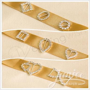 Wedding  Sliver Crystal Sliders, Rhinestone Ribbon Invitations Buckles Image 1