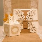 Affordable Rustic Laser Cut Wedding Favor Boxes image