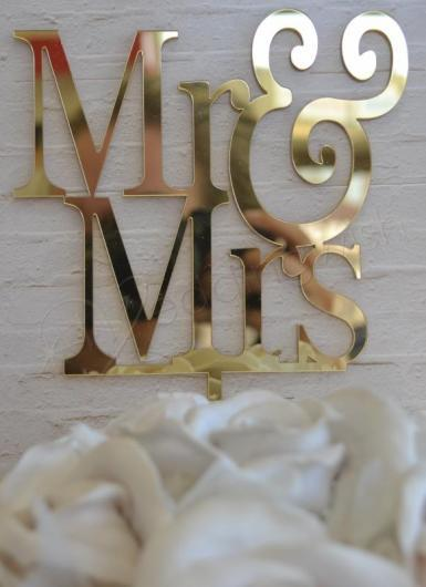 Wedding Mr and Mrs Gold Cake Pick - Wedding Wish Image 1