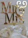 Mr and Mrs Gold Cake Pick image