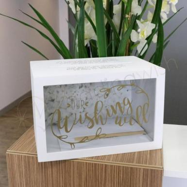 Wedding Gold Wishing Well Timber Box with Clear Front - Wedding Wish Image 1