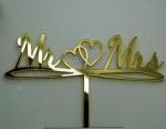 Mr and Mrs Gold Word Cake Topper with Double Hearts image