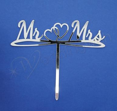 Wedding Mr and Mrs Silver Word Cake Topper with Double Hearts - Wedding Wish Image 1