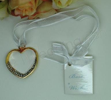 Wedding Gold Heart Charm with Diamante Bling - Wedding Wish Image 1