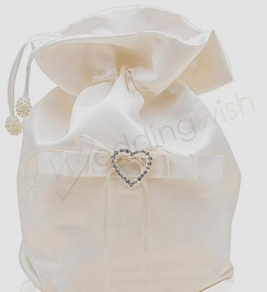 Wedding Bridal Dilly Bag Ivory with Diamante Heart - Wedding Wish Image 1