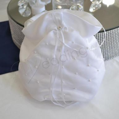Wedding Bridal Dilly Bag White with Pearls - Wedding Wish Image 1