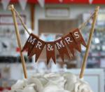 Mr and Mrs Wooden Bunting Cake Topper image
