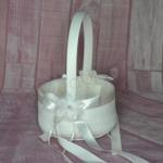 Flower Basket - Deluxe  Ivory Flower Basket with Lace Trimming image