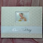 Ivory Leather Look Guest Book - Embossed Diamonds image