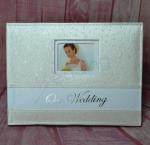 Ivory Leather Look Guest Book - Mini Flowers image