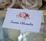 Custom Floral Place Cards on Shimmer Paper image