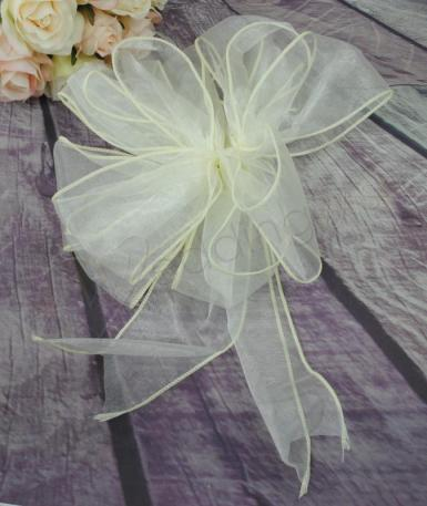 Wedding Large Ivory Organza Pull String Pew Bows x 12 - Wedding Wish Image 1