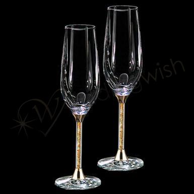 Wedding Gold Leaf Stem Champagne Flutes, wedding toasting glasses - Wedding Wish Image 1