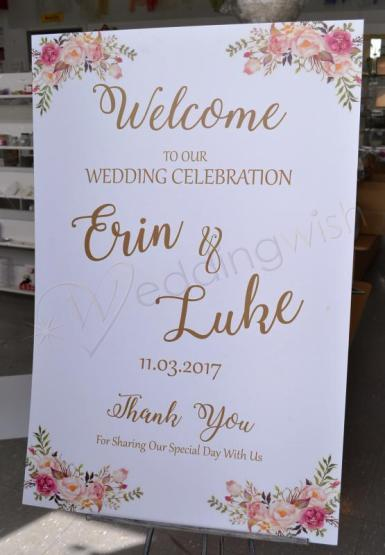 Wedding Welcome Sign - Cottage Peony and Roses - Wedding Wish Image 1
