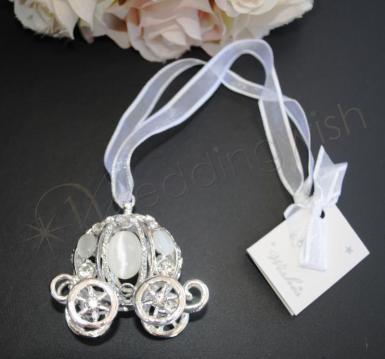 Wedding Silver Carriage Good Luck Charm - Wedding Wish Image 1