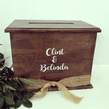 Wedding Rustic Stained Timber Wishing Well with personalised names - Wedding Wish Image 1