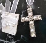Diamante and Pearl Cross Charm image