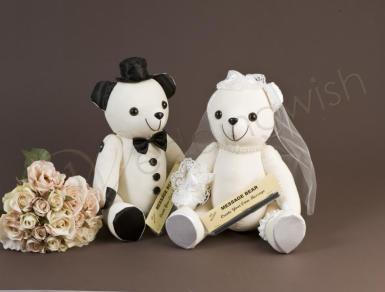 Wedding Bride and Groom Signature Bear - Sold Separately - Wedding Wish Image 1