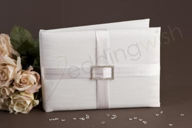 Wedding Square Diamante Guest Book Ivory - Wedding Wish Image 1