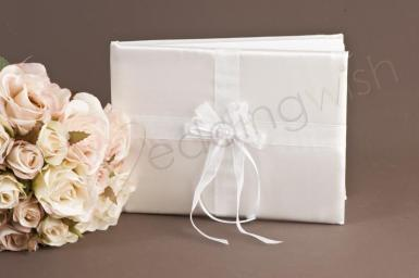 Wedding White Satin Guest Book with Pearl and Ribbon Centre - Wedding Wish Image 1