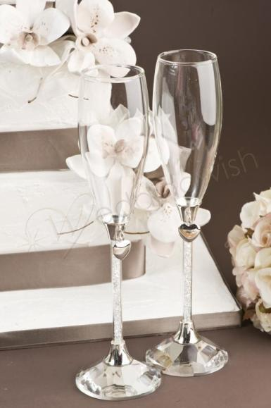 Wedding Crystal Stem Champagne Flutes - Wedding Wish Image 1