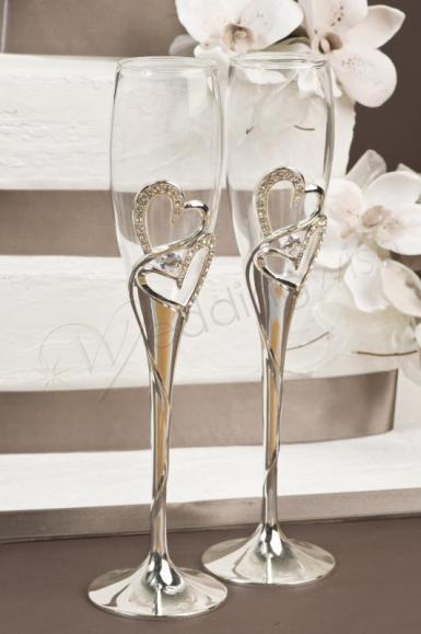Wedding Crystal and Silver Toasting Glasses - Wedding Wish Image 1