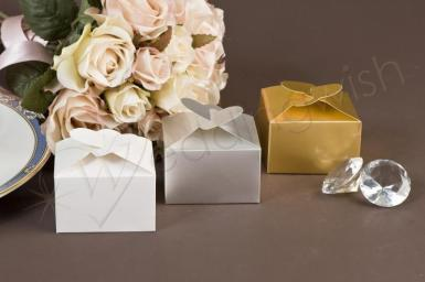 Wedding  Double Heart Gift Boxes x5 - Gold, Silver or White Image 1