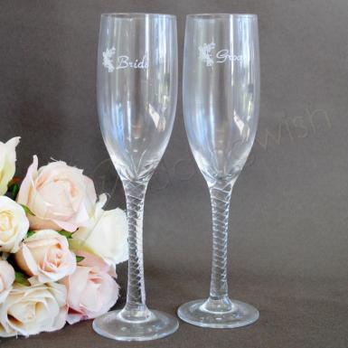 Wedding Bride and Groom Etched Toasting Glasses - Wedding Wish Image 1