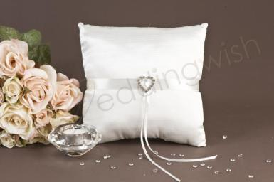 Wedding Satin Ring Pillow with Heart - Wedding Wish Image 1