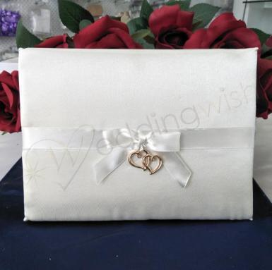 Wedding Ivory and Gold Hearts Guest Book - Wedding Wish Image 1