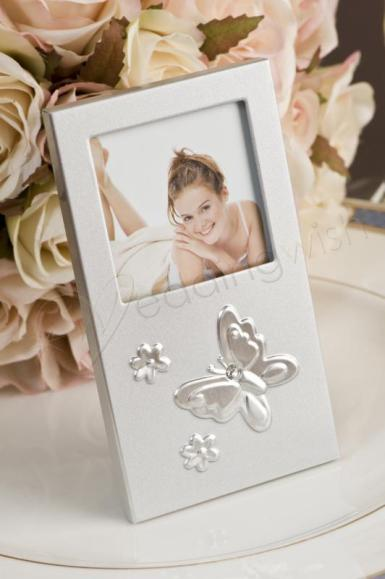 Wedding  Brushed silver butterfly photo frame Image 1