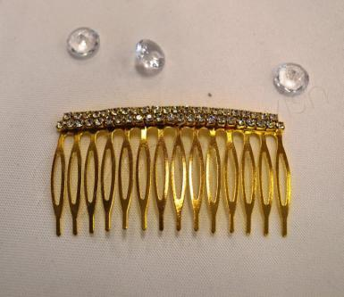 Wedding Silver or Gold Metal Diamante Comb - Wedding Wish Image 1