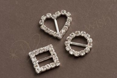 Wedding Diamante Buckle Slider - Squares or Hearts or Circles x 5 pack - Wedding Wish Image 1