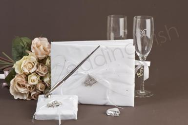 Wedding Organza Hearts Toasting Set - Guest Book, Pen and Glasses - Wedding Wish Image 1