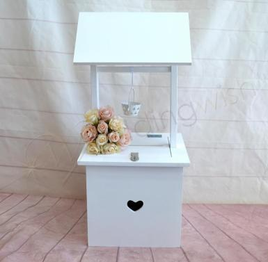 Wedding White Wishing Well with Small Heart - Wedding Wish Image 1