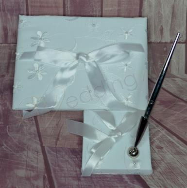 Wedding Guest Book and Pen Set - Embroidered Flowers - Wedding Wish Image 1