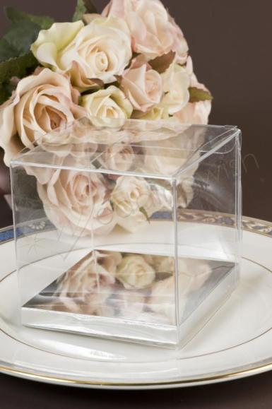 Wedding Clear PVC Boxes with silver base 5cm x 5cm - Wedding Wish Image 1