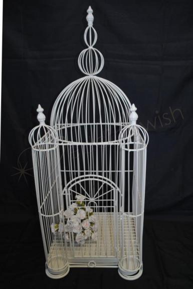 Wedding Stunning Large Square Wedding Birdcage 90cm tall - Hire - Wedding Wish Image 1