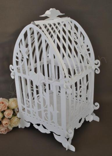 Wedding  Cardboard Bird Cage with Sign Image 1