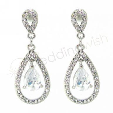 Wedding Crystal Teardrop Earrings - Wedding Wish Image 1