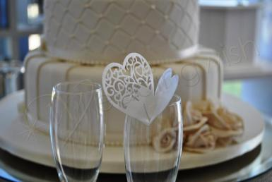 Wedding Heart Wine Glass Placecard - White or Silver x 10 - Wedding Wish Image 1