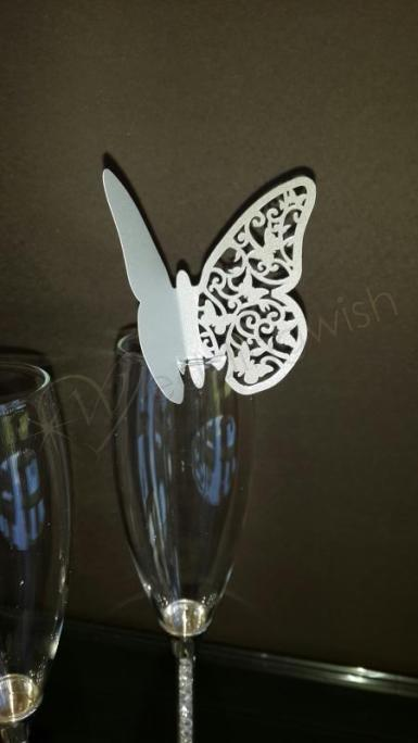 Wedding Butterfly Glass Placecards x 10 - Wedding Wish Image 1