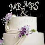Mr and Mrs Diamante Cake Topper image