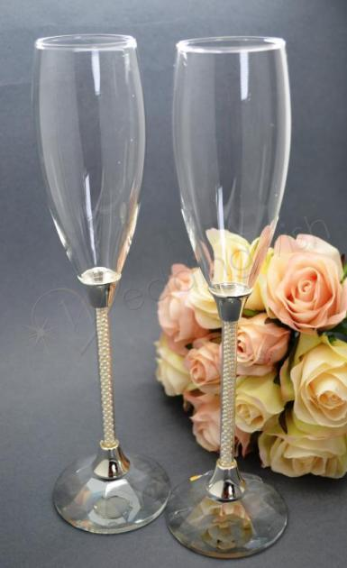 Wedding Pearl Stem Wedding Champagne Flutes - Wedding Wish Image 1