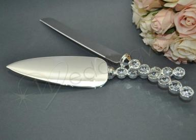 Wedding Diamante Stem Cake Knife and Server Set - Wedding Wish Image 1