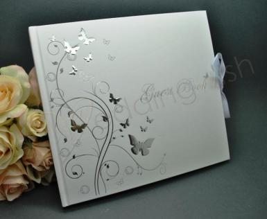 Wedding Butterflies Guest Book - Wedding or Engagement - Wedding Wish Image 1