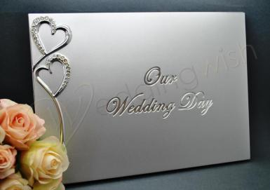Wedding Silver Our Wedding Day Guest Book - Wedding Wish Image 1